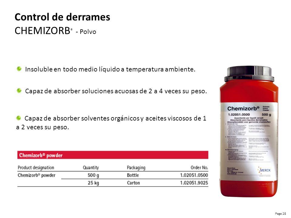 Page 29 Control de derrames CHEMIZORB ® - Gránulos Capacidad de absorción solo hasta el 100 % de su peso.