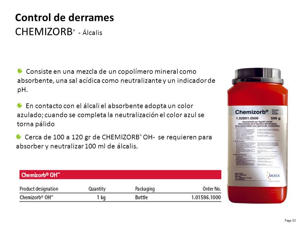 Page 31 Control de derrames CHEMIZORB ® - Ácido El proceso de neutralización resulta en la liberación de CO 2 y el color del indicador camia de rojo a naranja / amarillo Cerca de 350 a 400 gr de producto se requieren para absorber y neutralizar 100 ml de un ácido.