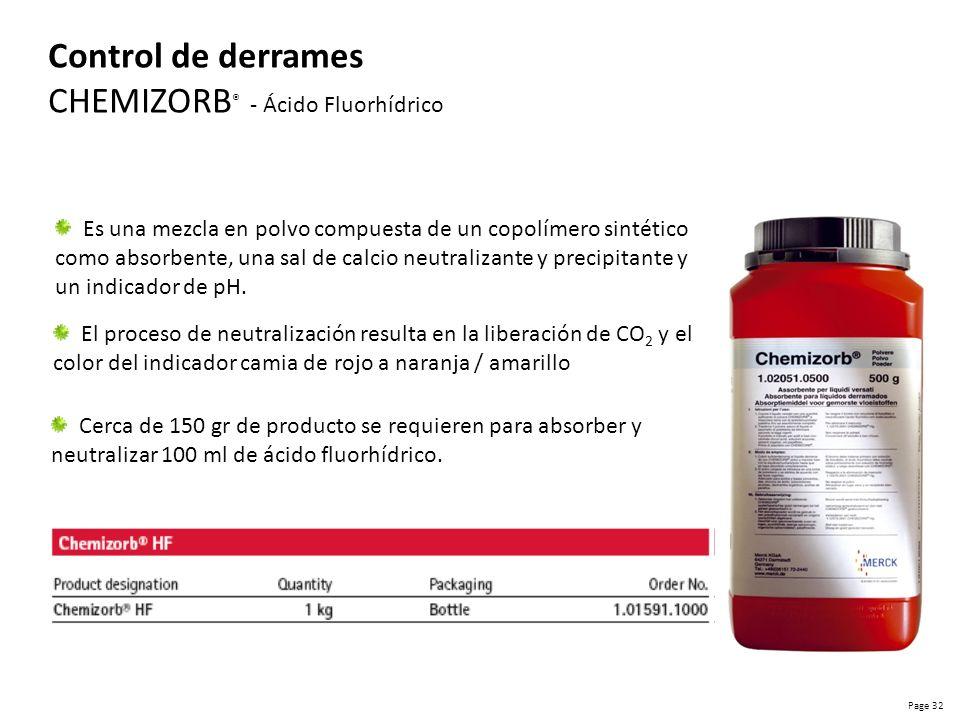 Page 33 Control de derrames CHEMIZORB ® - Mercurio Los reactivos incluidos en el set son suficientes para la descontaminación simple y segura de un área de aproximadamente 1 metro cuadrado.