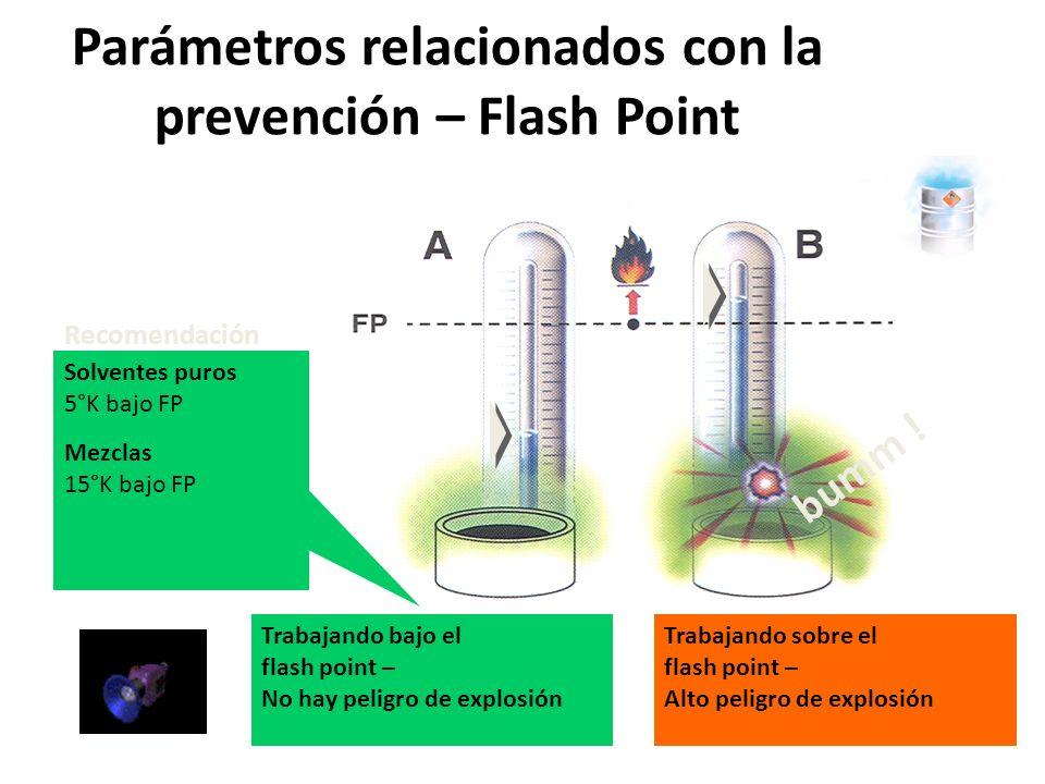 Parámetros relacionados con la Prevención Parámetros que describen las posibilidades de ignición Parámetros que describen el efecto de una explosión Parámetros que describen atmósferas explosivas Límites de Explosión Flash point Concentración limitante de Oxígeno Puntos Explosivos Temperatura de Auto ignición Energía Mínima de ignición Minimo común de ignición Transmisión de Llama –a prueba del tamaño del intervalo Presión de explosión Máxima Aumento de presión estimada Parámetros relacionados con la prevención – Límites de explosión