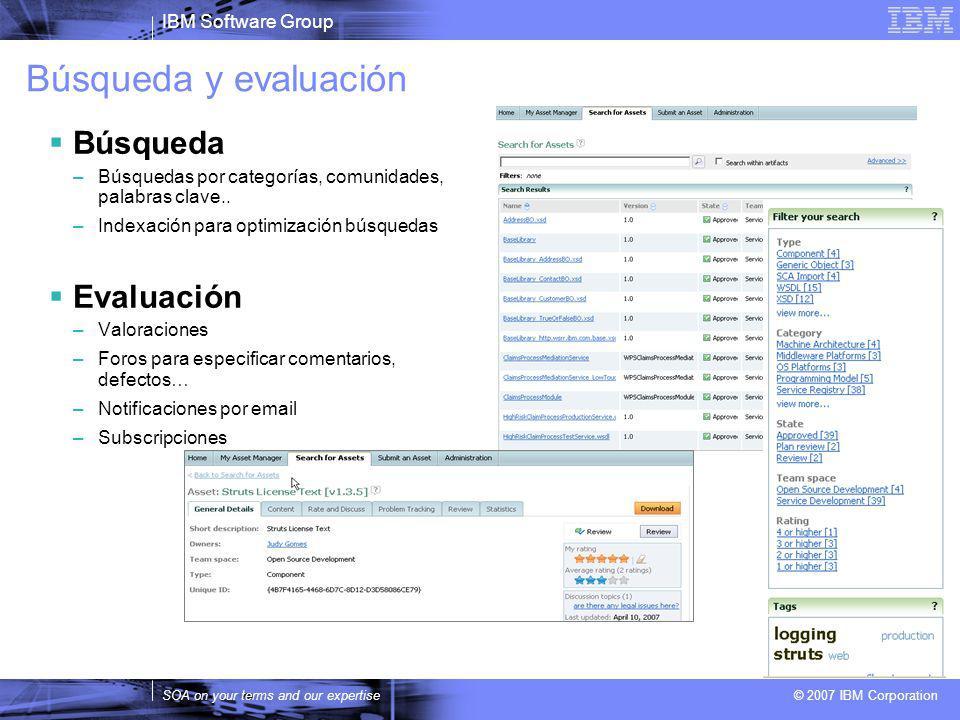 IBM Software Group SOA on your terms and our expertise © 2007 IBM Corporation Búsqueda y evaluación Búsqueda –Búsquedas por categorías, comunidades, palabras clave..