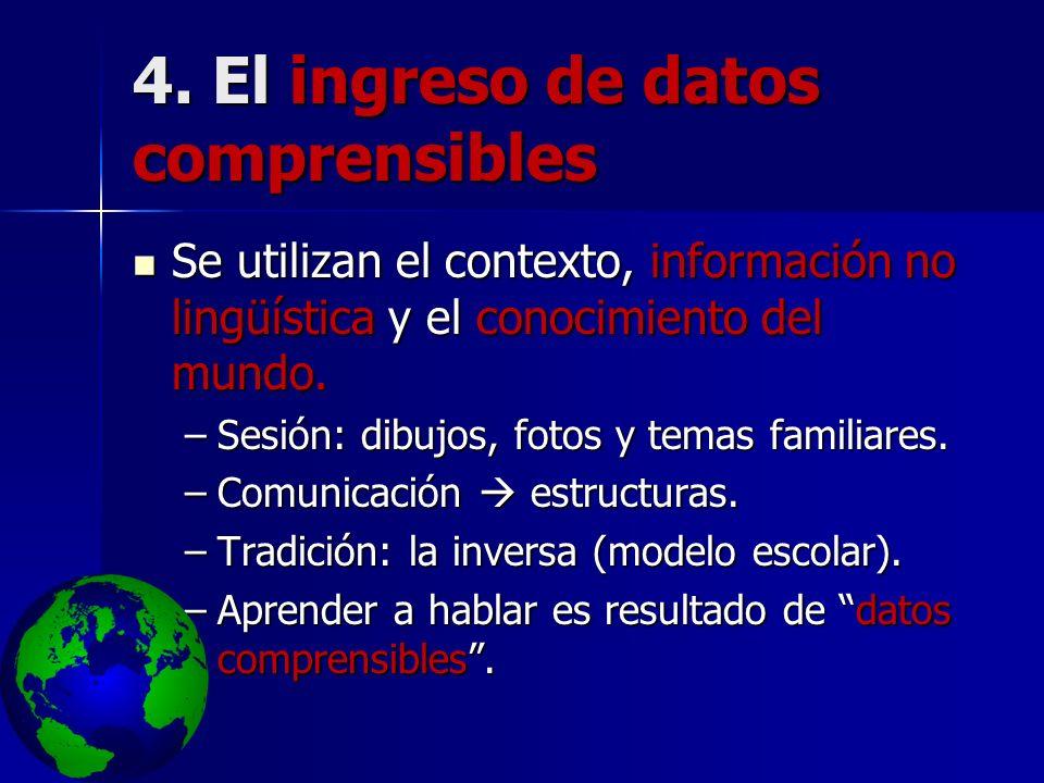 4. El ingreso de datos comprensibles Se utilizan el contexto, información no lingüística y el conocimiento del mundo. Se utilizan el contexto, informa