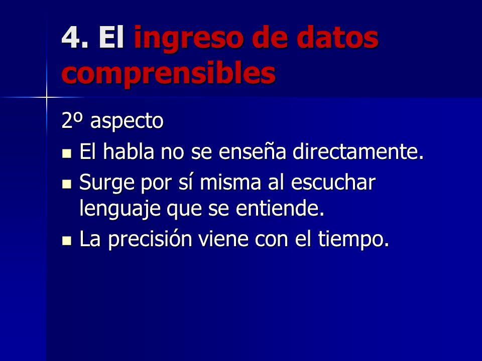 4. El ingreso de datos comprensibles 2º aspecto El habla no se enseña directamente. El habla no se enseña directamente. Surge por sí misma al escuchar