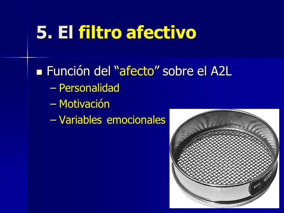5. El filtro afectivo Función del afecto sobre el A2L Función del afecto sobre el A2L –Personalidad –Motivación –Variables emocionales