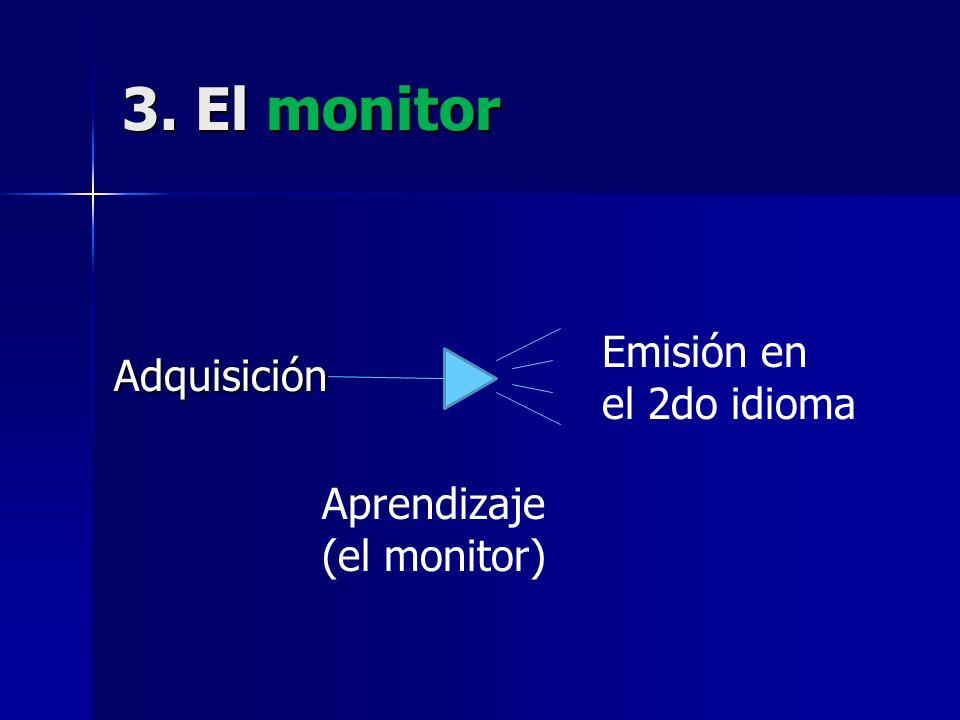 3. El monitor Adquisición Emisión en el 2do idioma Aprendizaje (el monitor)