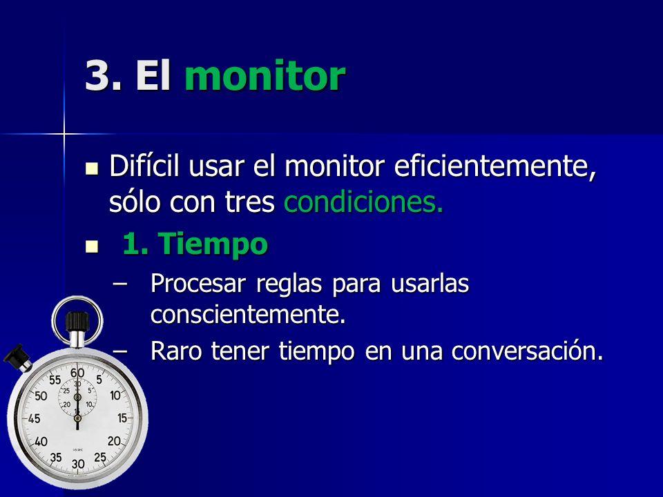 3. El monitor Difícil usar el monitor eficientemente, sólo con tres condiciones. Difícil usar el monitor eficientemente, sólo con tres condiciones. 1.