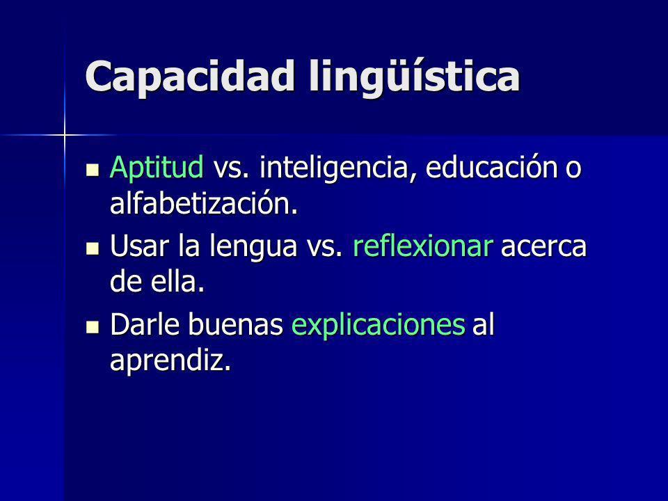 Capacidad lingüística Aptitud vs. inteligencia, educación o alfabetización.