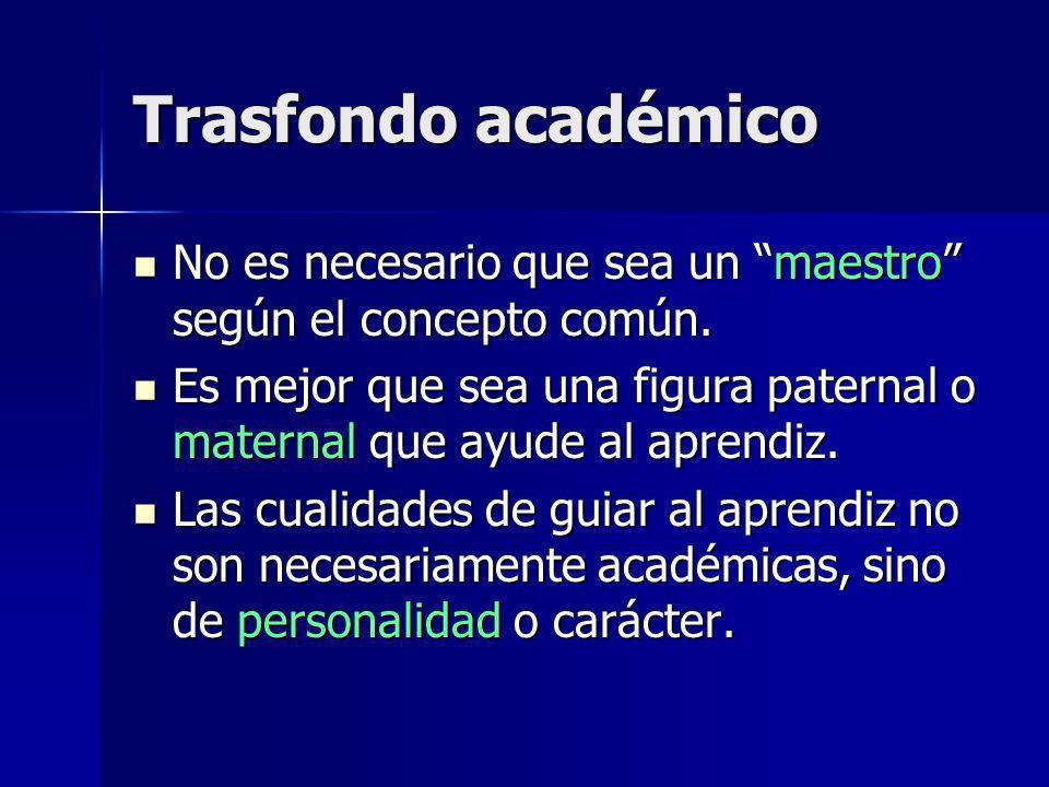 Trasfondo académico No es necesario que sea un maestro según el concepto común.
