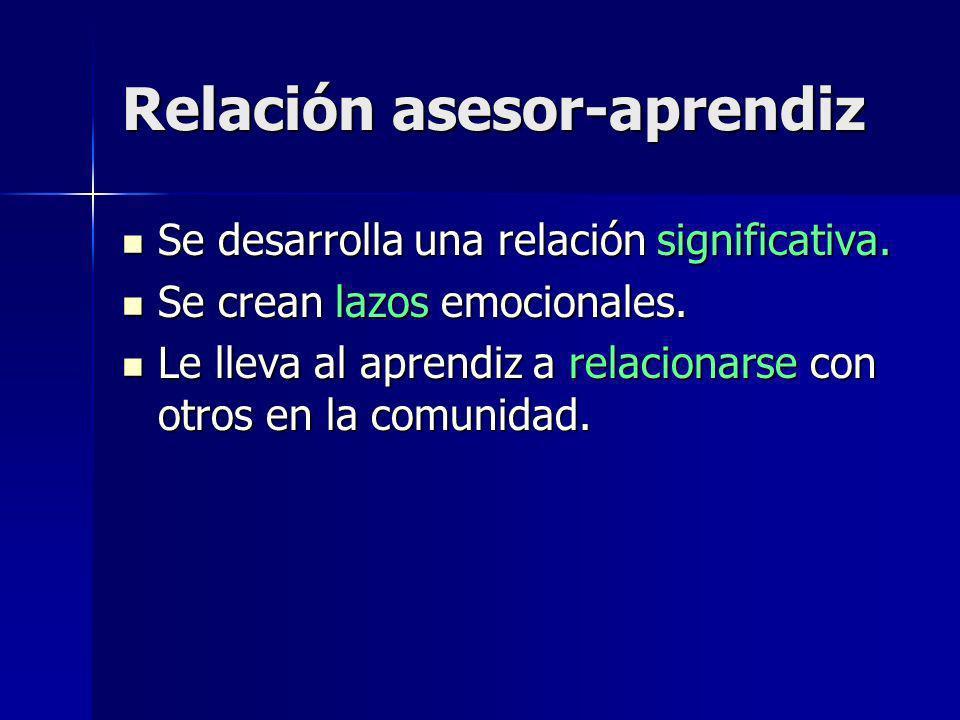 Relación asesor-aprendiz Se desarrolla una relación significativa.