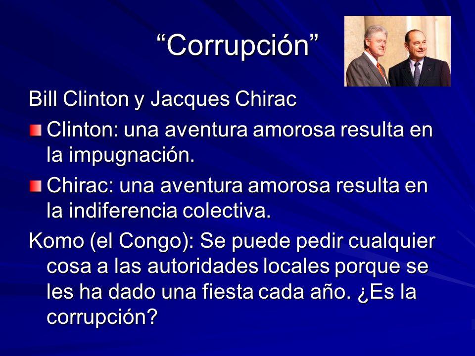 CorrupciónCorrupción Bill Clinton y Jacques Chirac Clinton: una aventura amorosa resulta en la impugnación. Chirac: una aventura amorosa resulta en la