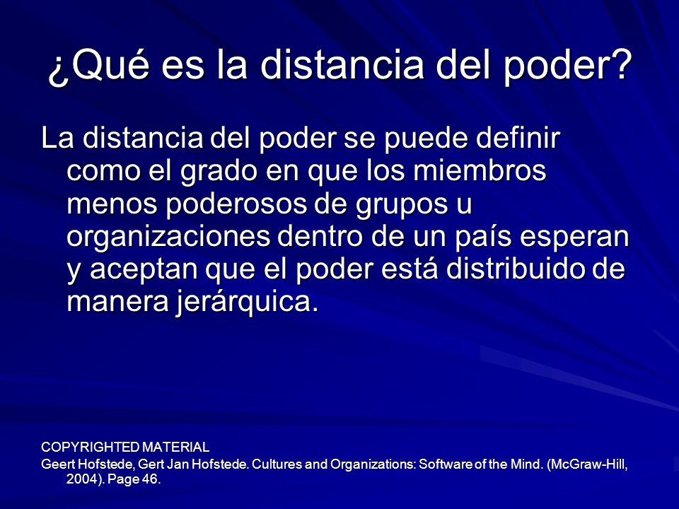 ¿Qué es la distancia del poder? La distancia del poder se puede definir como el grado en que los miembros menos poderosos de grupos u organizaciones d