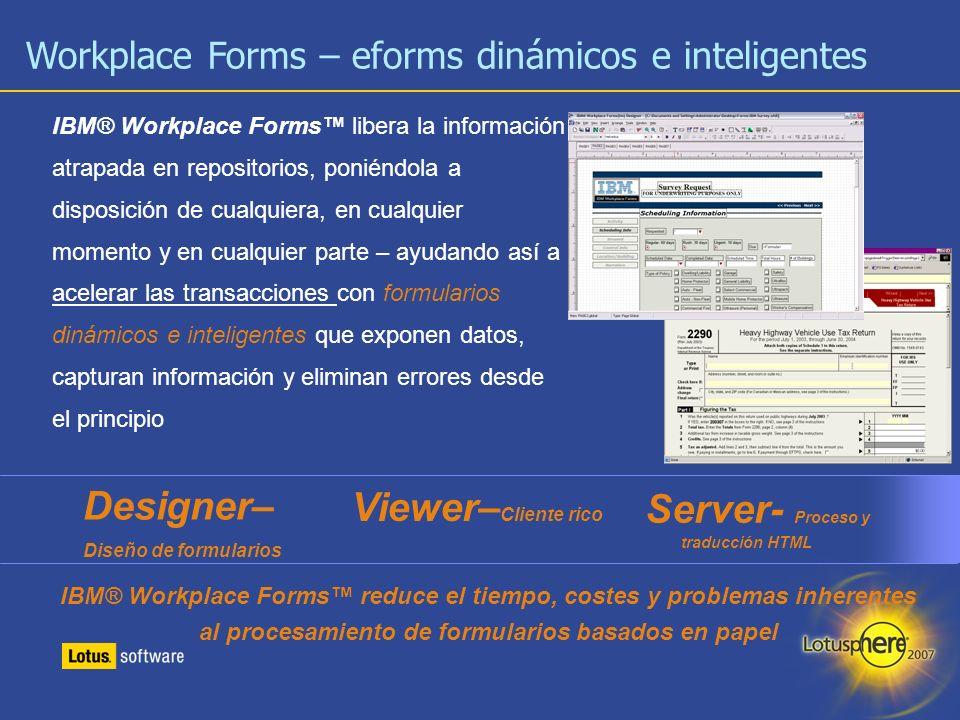 10 IBM® Workplace Forms libera la información atrapada en repositorios, poniéndola a disposición de cualquiera, en cualquier momento y en cualquier pa
