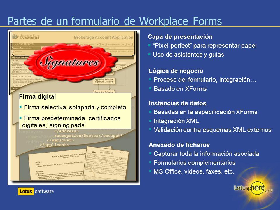 11 Lógica de negocio Proceso del formulario, integración… Basado en XForms Capa de presentación Pixel-perfect para representar papel Uso de asistentes