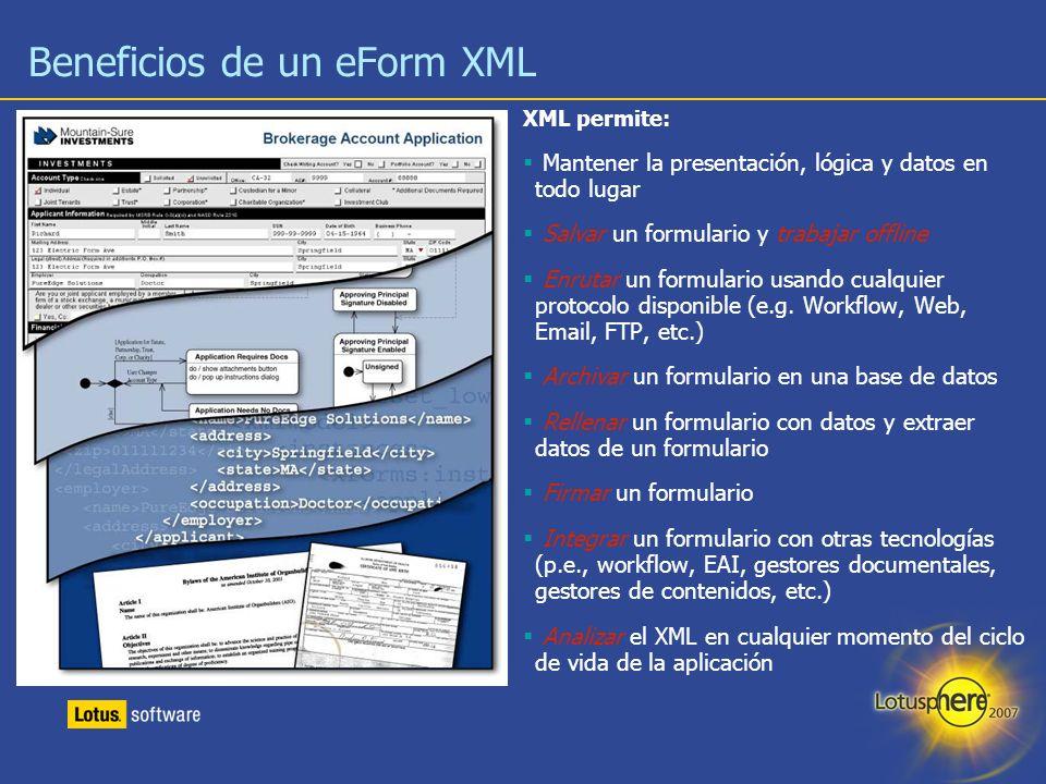 12 XML permite: Mantener la presentación, lógica y datos en todo lugar Salvar un formulario y trabajar offline Enrutar un formulario usando cualquier