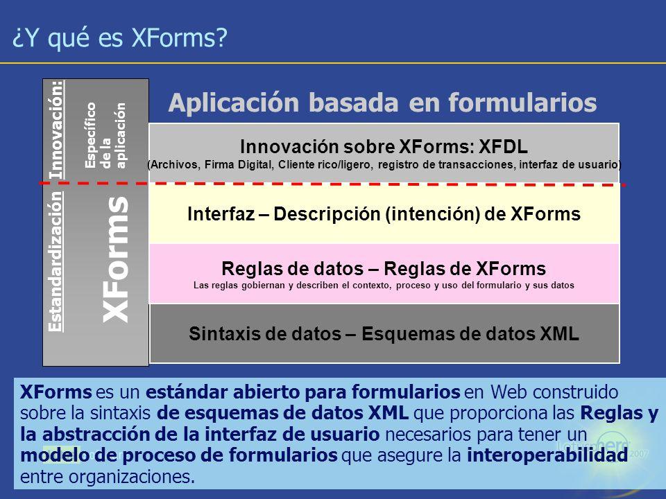 13 ¿Y qué es XForms? XForms es un estándar abierto para formularios en Web construido sobre la sintaxis de esquemas de datos XML que proporciona las R