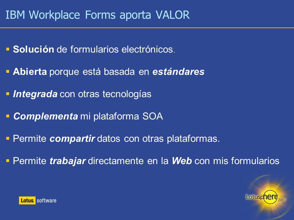15 IBM Workplace Forms aporta VALOR Solución de formularios electrónicos. Abierta porque está basada en estándares Integrada con otras tecnologías Com