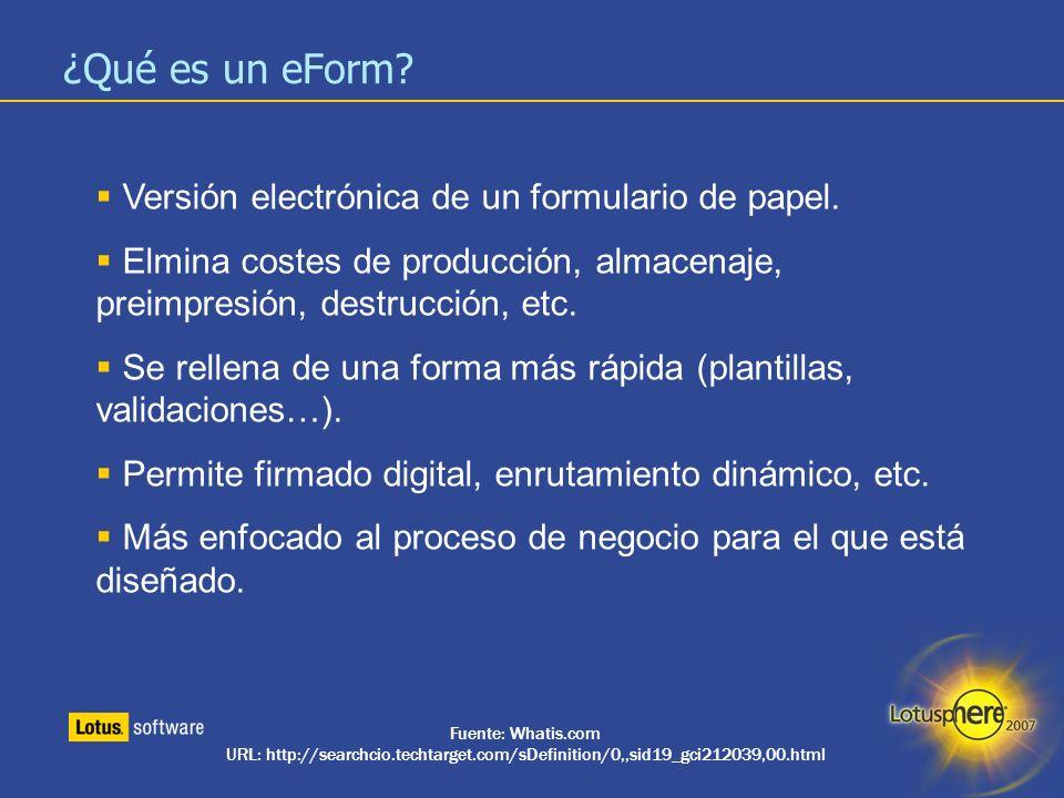 4 ¿Qué es un eForm? Versión electrónica de un formulario de papel. Elmina costes de producción, almacenaje, preimpresión, destrucción, etc. Se rellena