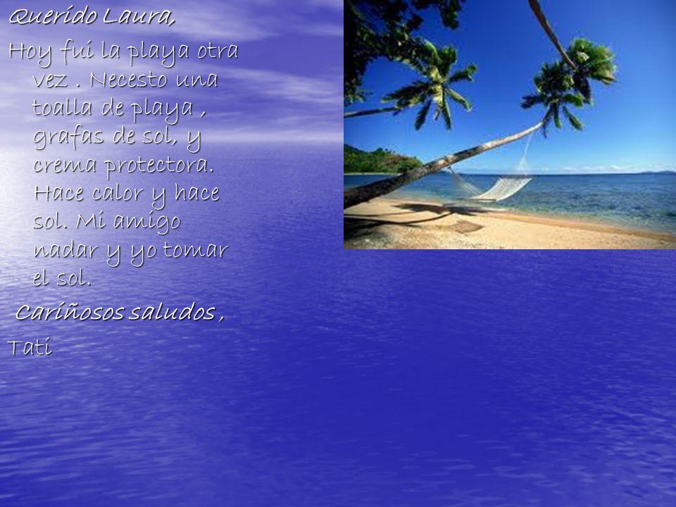 Querido Laura, Hoy fui la playa otra vez.