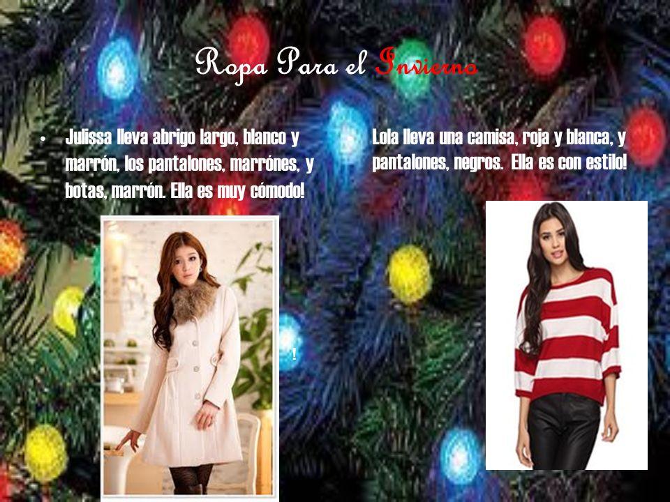 Ropa Para el Invierno Julissa lleva abrigo largo, blanco y marrón, los pantalones, marrónes, y botas, marrón.