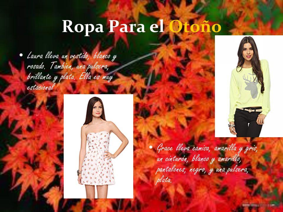 Ropa Para el Otoño Laura lleva un vestido, blanco y rosado.