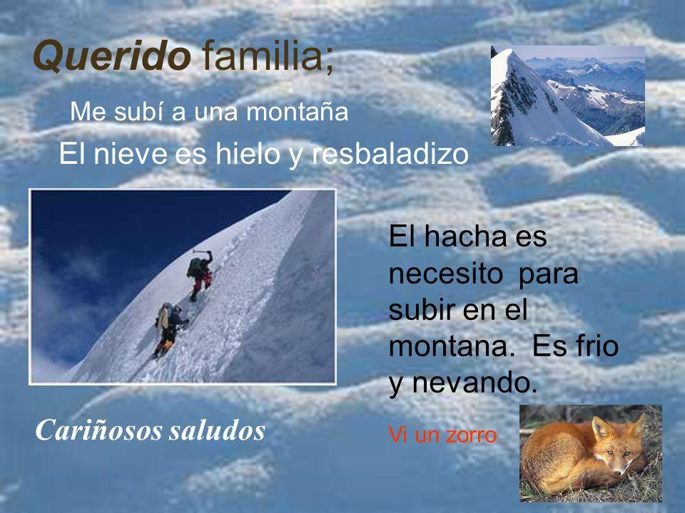 Querido familia; El nieve es hielo y resbaladizo El hacha es necesito para subir en el montana.