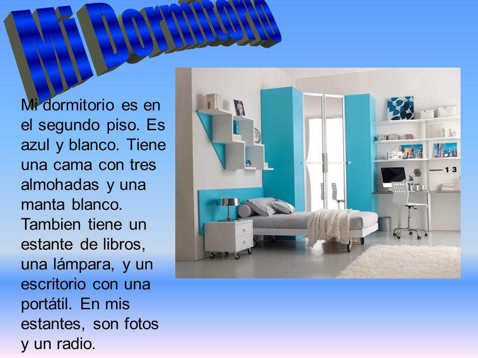 Mi dormitorio es en el segundo piso. Es azul y blanco. Tiene una cama con tres almohadas y una manta blanco. Tambien tiene un estante de libros, una l