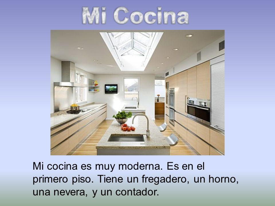 Mi cocina es muy moderna. Es en el primero piso. Tiene un fregadero, un horno, una nevera, y un contador.