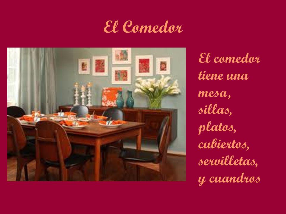 El Comedor El comedor tiene una mesa, sillas, platos, cubiertos, servilletas, y cuandros