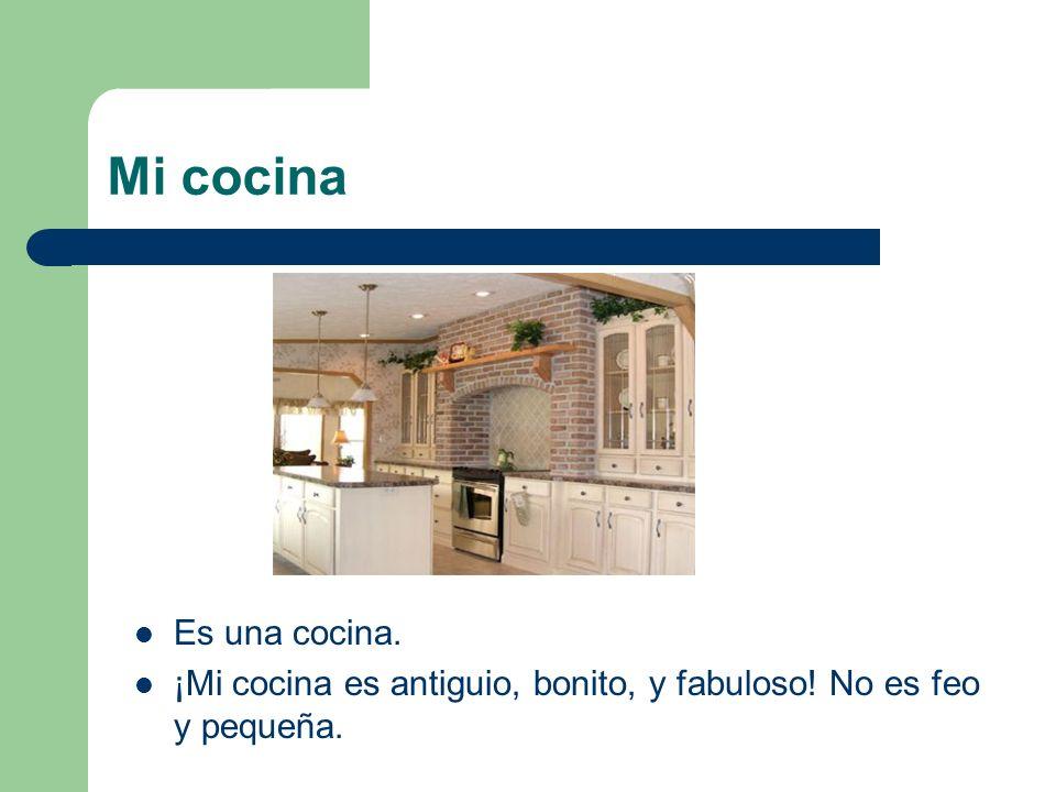 Mi cocina Es una cocina. ¡Mi cocina es antiguio, bonito, y fabuloso! No es feo y pequeña.