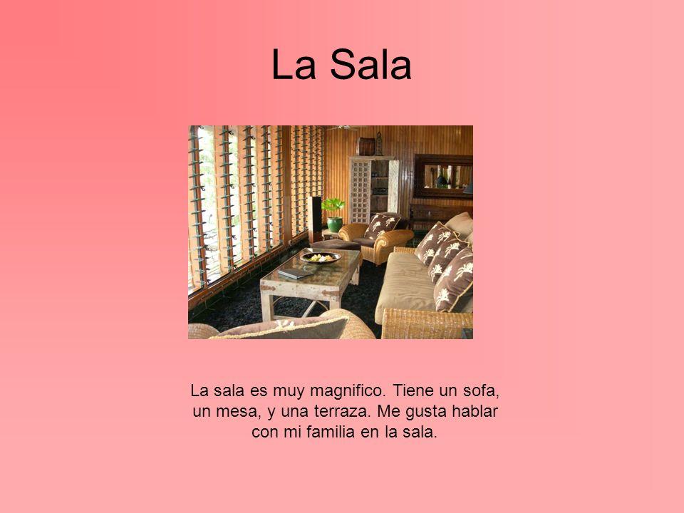 La Sala La sala es muy magnifico. Tiene un sofa, un mesa, y una terraza. Me gusta hablar con mi familia en la sala.