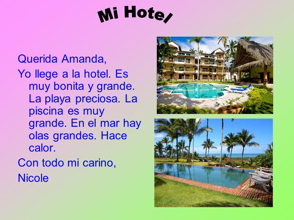 Querida Amanda, Yo llege a la hotel. Es muy bonita y grande. La playa preciosa. La piscina es muy grande. En el mar hay olas grandes. Hace calor. Con