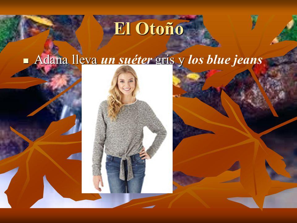 El Otoño Adana lleva gris y Adana lleva un suéter gris y los blue jeans