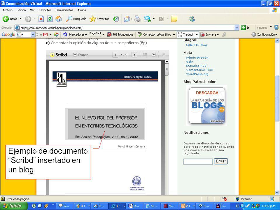 Ejemplo de documento Scribd insertado en un blog