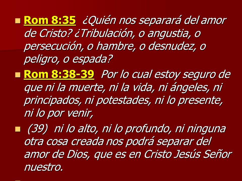 Rom 8:35 ¿Quién nos separará del amor de Cristo? ¿Tribulación, o angustia, o persecución, o hambre, o desnudez, o peligro, o espada? Rom 8:35 ¿Quién n