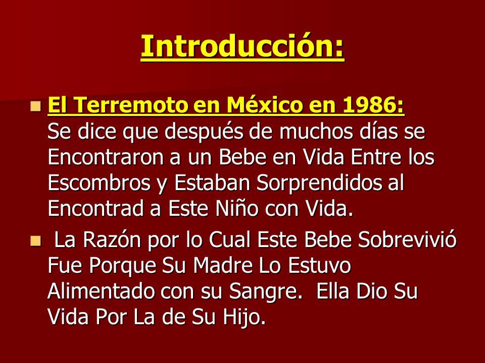 Introducción: El Terremoto en México en 1986: Se dice que después de muchos días se Encontraron a un Bebe en Vida Entre los Escombros y Estaban Sorpre