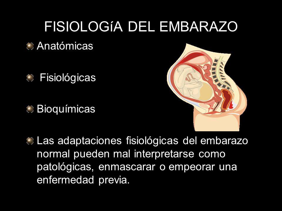 FISIOLOGíA DEL EMBARAZO Anatómicas Fisiológicas Bioquímicas Las adaptaciones fisiológicas del embarazo normal pueden mal interpretarse como patológica