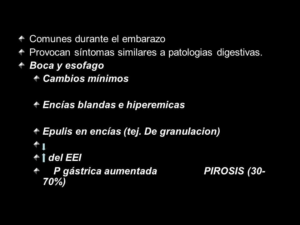 Comunes durante el embarazo Provocan síntomas similares a patologias digestivas. Boca y esofago Cambios mínimos Encías blandas e hiperemicas Epulis en