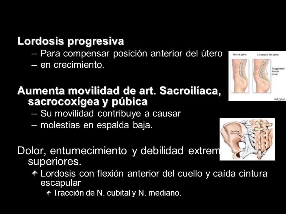 Lordosis progresiva –Para compensar posición anterior del útero –en crecimiento. Aumenta movilidad de art. Sacroilíaca, sacrocoxígea y púbica –Su movi