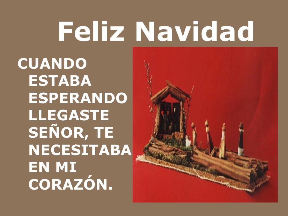 Feliz Navidad CUANDO ESTABA ESPERANDO LLEGASTE SEÑOR, TE NECESITABA EN MI CORAZÓN.
