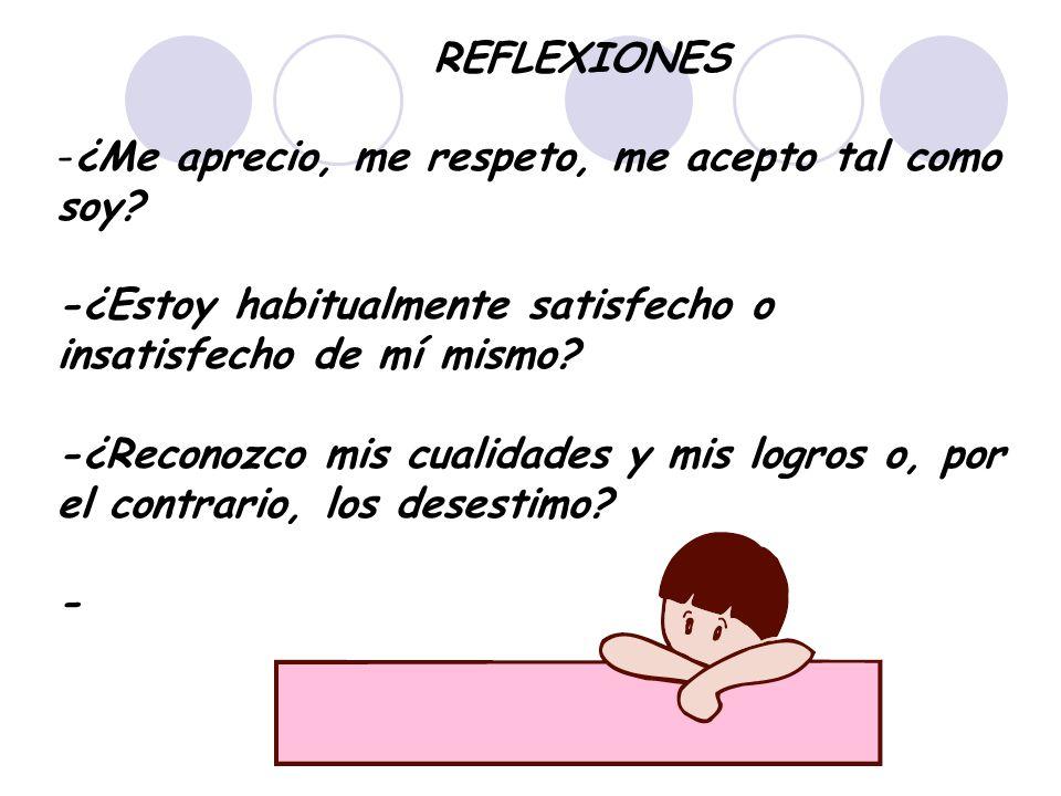 REFLEXIONES -¿Me aprecio, me respeto, me acepto tal como soy? -¿Estoy habitualmente satisfecho o insatisfecho de mí mismo? -¿Reconozco mis cualidades