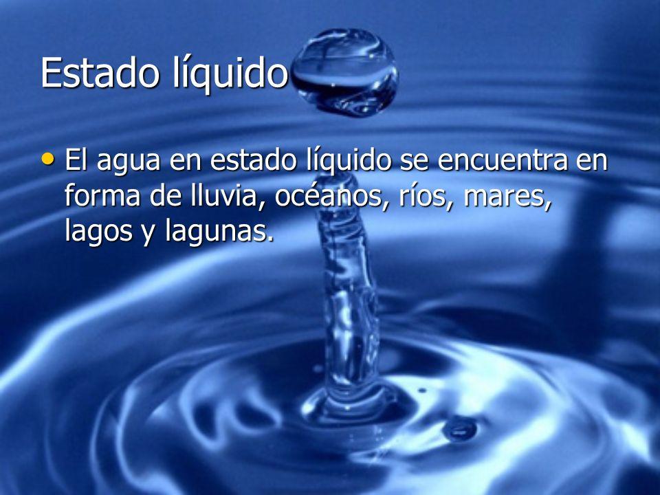 Estado líquido El agua en estado líquido se encuentra en forma de lluvia, océanos, ríos, mares, lagos y lagunas. El agua en estado líquido se encuentr