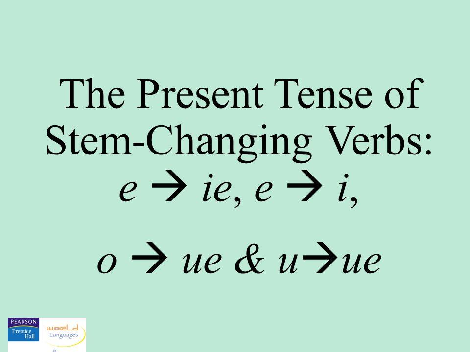The Present Tense of Stem-Changing Verbs: e ie, e i, o ue & u ue