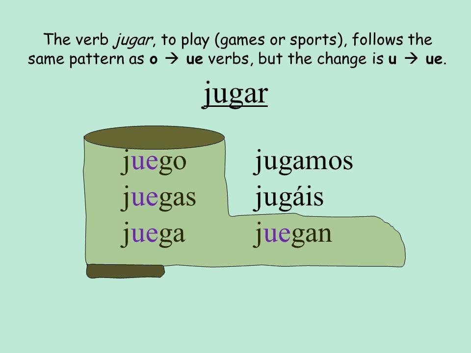 jugar juego juegas juega jugamos jugáis juegan The verb jugar, to play (games or sports), follows the same pattern as o ue verbs, but the change is u