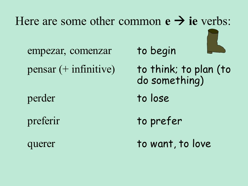 Here are some other common e ie verbs: empezar, comenzar to begin pensar (+ infinitive) to think; to plan (to do something) perder to lose querer to w