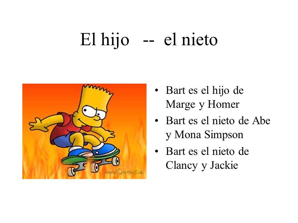 El hijo -- el nieto Bart es el hijo de Marge y Homer Bart es el nieto de Abe y Mona Simpson Bart es el nieto de Clancy y Jackie