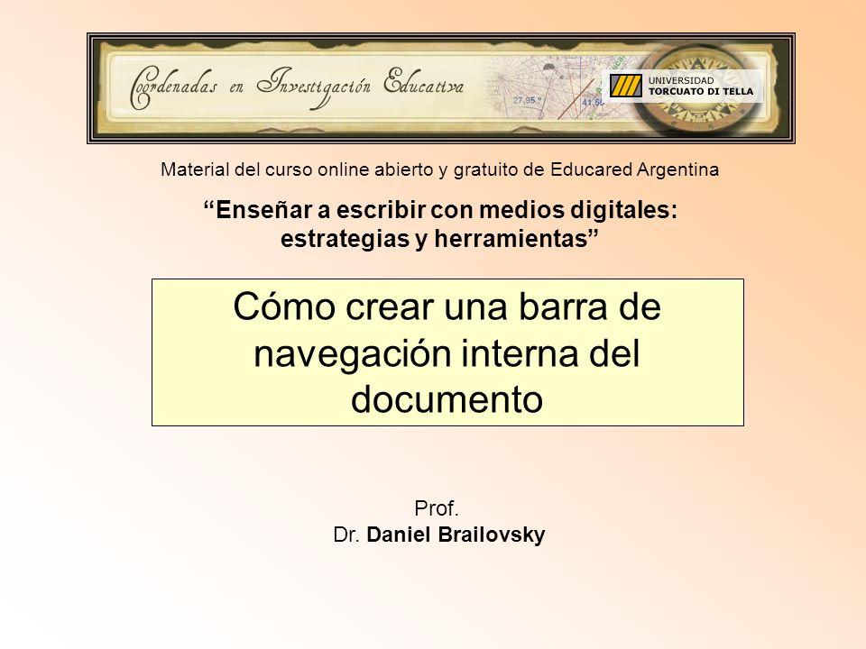 Cómo crear una barra de navegación interna del documento Prof.