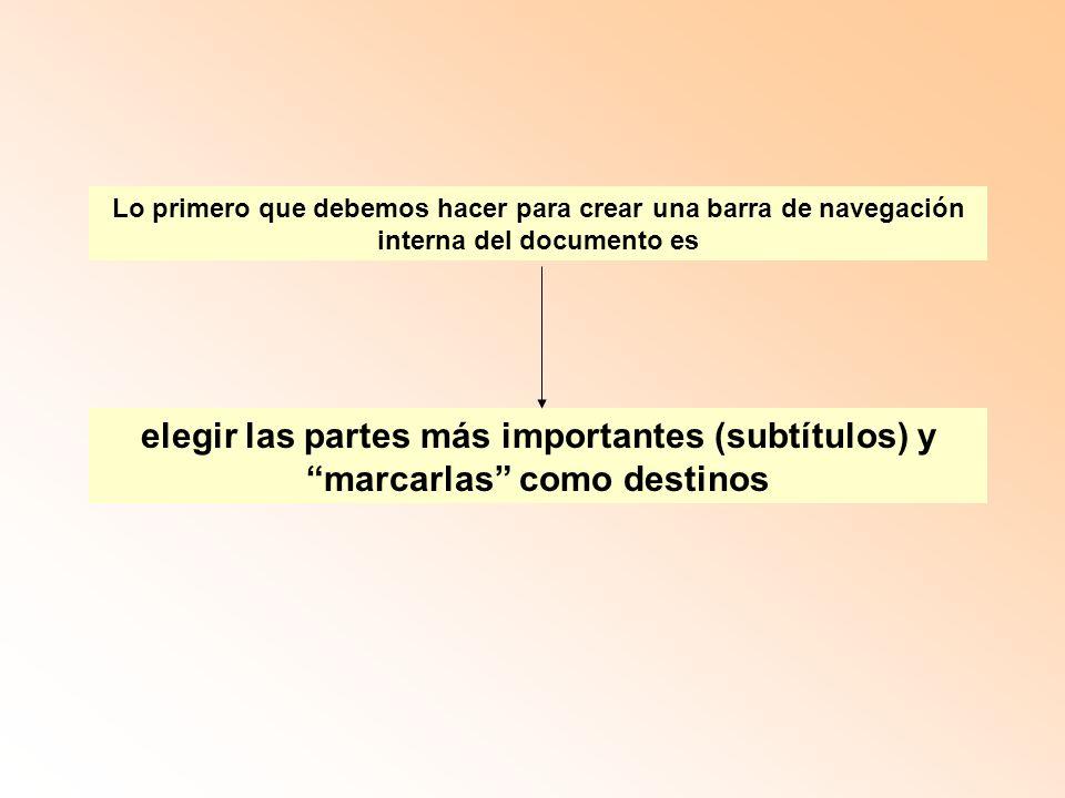 Lo primero que debemos hacer para crear una barra de navegación interna del documento es elegir las partes más importantes (subtítulos) y marcarlas como destinos