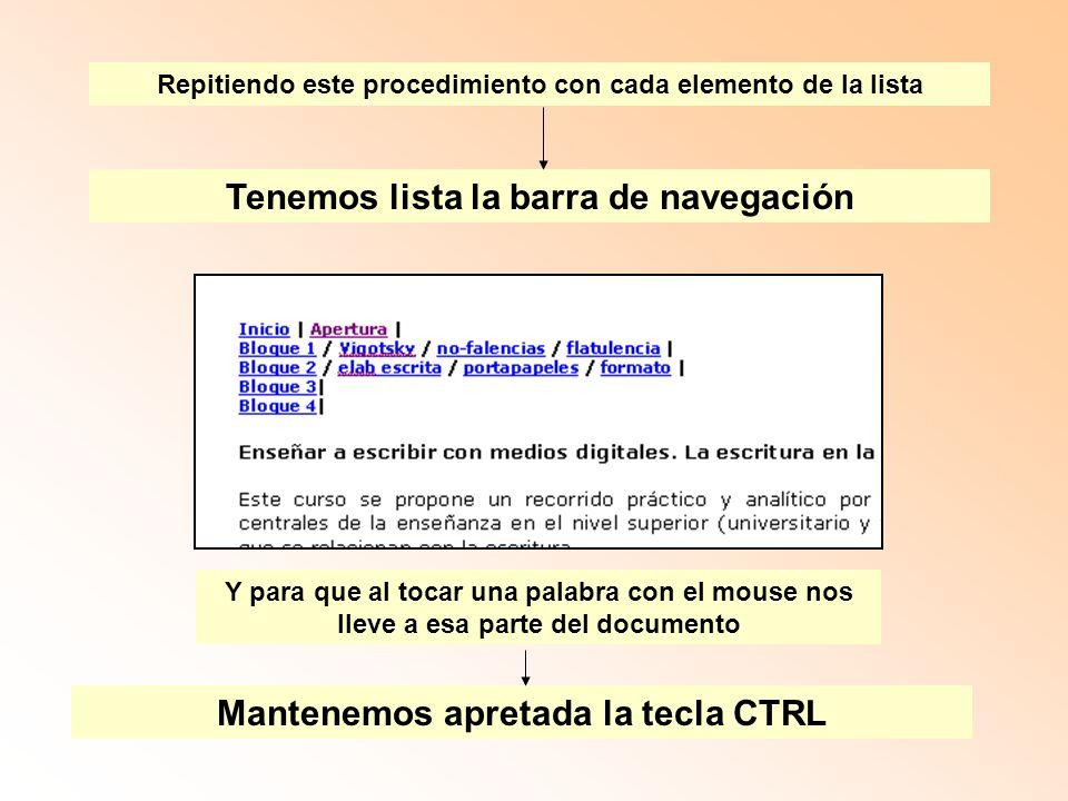 Repitiendo este procedimiento con cada elemento de la lista Tenemos lista la barra de navegación Y para que al tocar una palabra con el mouse nos lleve a esa parte del documento Mantenemos apretada la tecla CTRL