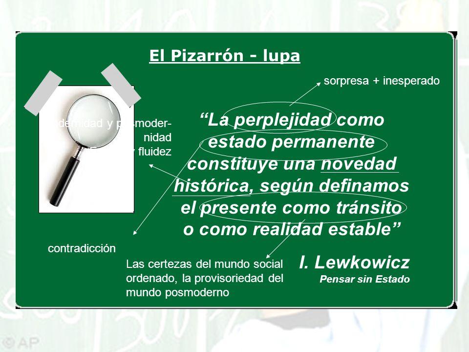El Pizarrón - lupa La perplejidad como estado permanente constituye una novedad histórica, según definamos el presente como tránsito o como realidad e