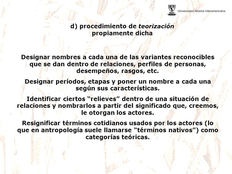 d) procedimiento de teorización propiamente dicha Designar nombres a cada una de las variantes reconocibles que se dan dentro de relaciones, perfiles